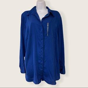 Ralph Lauren Long Sleeve Blue Blouse Size 1X NWT